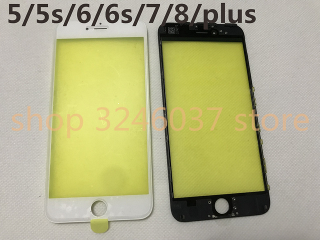 10pcs/lot AAA+ Cold Press LCD Front Touch Screen Glass Outer Lens with frame for iphone 8 7 6 6s plus 5s 5g case