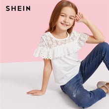 SHEIN Kiddie Girls Lace Yoke Eyelet Embroidered Ruffle Trim Cute Blouse Children 2019 Summer Short Sleeve Scallop Casual Tops