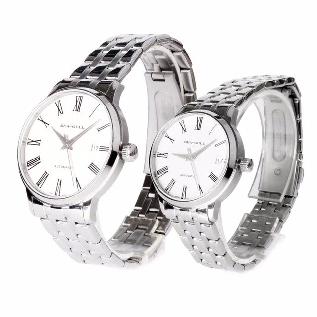 Genuine Seagull Sea-Gull Couple Watch Roman Numerals Silver Hands Exhibition Back Self Wind Automatic Men's Watch D816.455