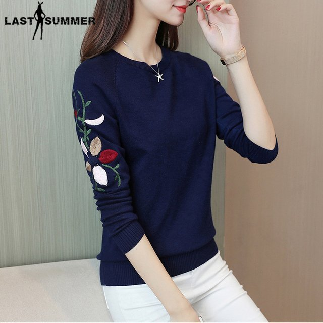 New  Fashion 2020 Women Autumn Spring  Embroidery Flower Sweater Pullovers Casual Warm Female Knitted Sweaters Pullover  Lady