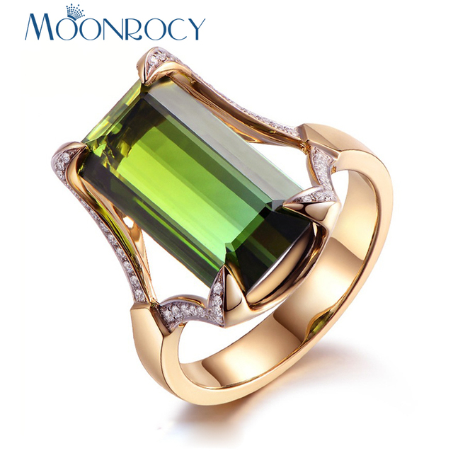 MOONROCY Gold-Color Cubic Zirconia Hyperbole Square Green Crystal Ring for Women Gift Drop Shipping Jewelry Wholesale Rings