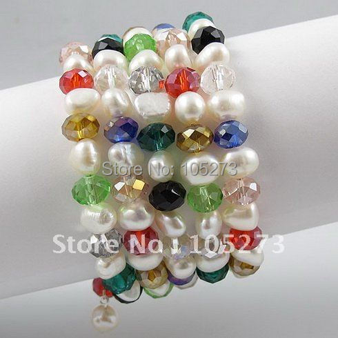 Fashion pearl bracelet AA 7-8MM White Genuine Freshwater pearl Baroque shaper &Multicolor crystal 5rows Free shipping A2595