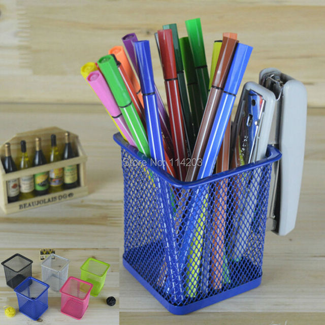 Hollow Design Metal Pen Holder Square Desktop Tidy Office Accessories Pen & Pencil Container Desk Decoration Stationery Holder