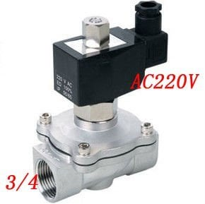 Free Shipping Ports 3/4'' Stainless Steel 304 Normally Open Water Solenoid Valves Oil Acid VITON 220VAC 5PCS/LOT