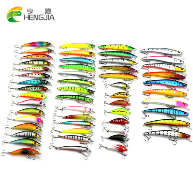HENGJIA 53pcs/lot pesca fishing lure Mixed 7 models fishing tackle Minnow lure Crankbait Popper isca aitificial fishing wobbler