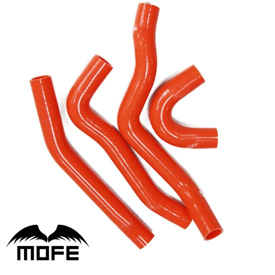 Mofe 4pcs Red  hige temp Silicone Water Coolant Heater Hose Pipe Kit For Mitsubishi Lancer EVO 10