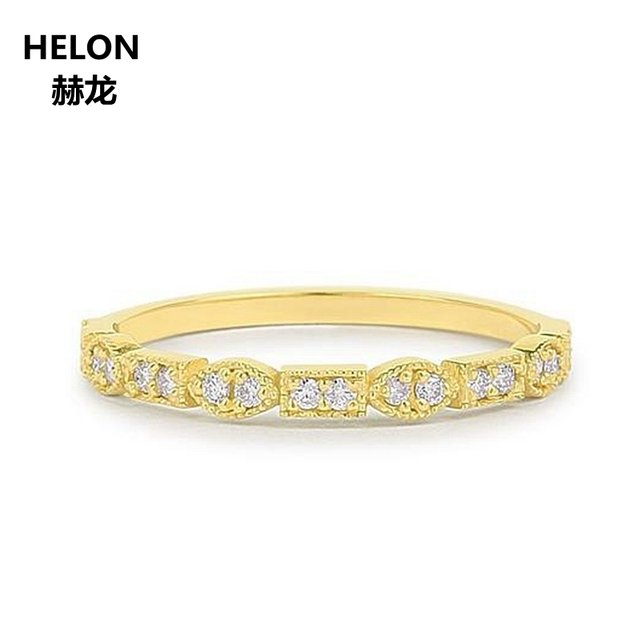 0.08ct SI/H Full Cut Natural Diamonds Engagement Ring for Women Solid 14k Yellow Gold Anniversary Wedding Band Vintage Art Deco