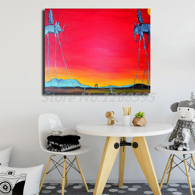 Salvadores Dalies Elephant Long Legs Wall Art Canvas Posters Prints Painting Wall Pictures For Office Living Room Home Decor