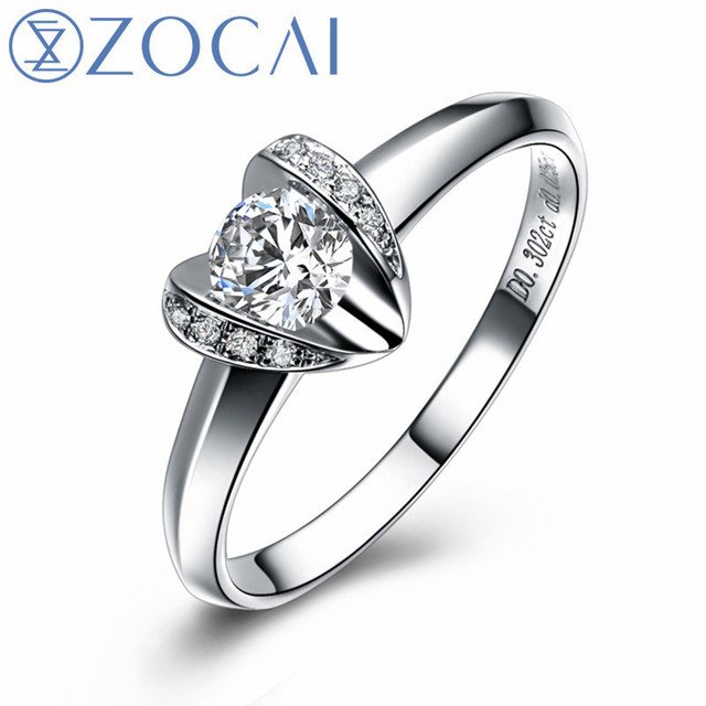 ZOCAI Encounter Heart Wedding Ring Real Certificate 0.2 CT H/SI Diamond 18K White Gold(AU750) Engagement ring W03127