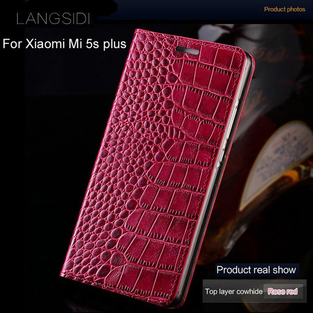 2018 New brand  phone case genuine leather crocodile Flat texture phone case For Xiaomi Mi 5s plus handmade phone case