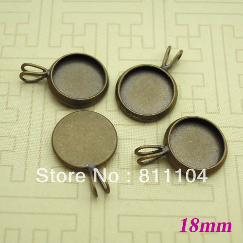18mm Antique Bronze Plated Copper Circle Tray Bases Blank Pendant Bezel Cup Charm Settings DIY CABs Cabochons Bulk Wholesale