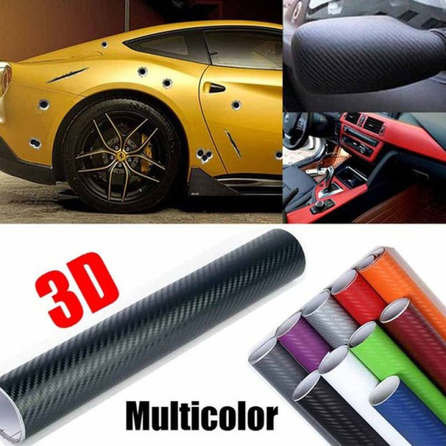 Car Decals Paint Protection Vehicle Door HIGH GLOSS Side Mirror Car Styling DIY 127 X 50cm Carbon Fiber 3D Car Protection Film