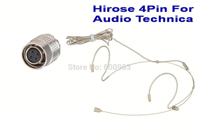Beige Dual Hook Omni-directional Headset Head Microphone For Audio Technica  Wireless MIC system
