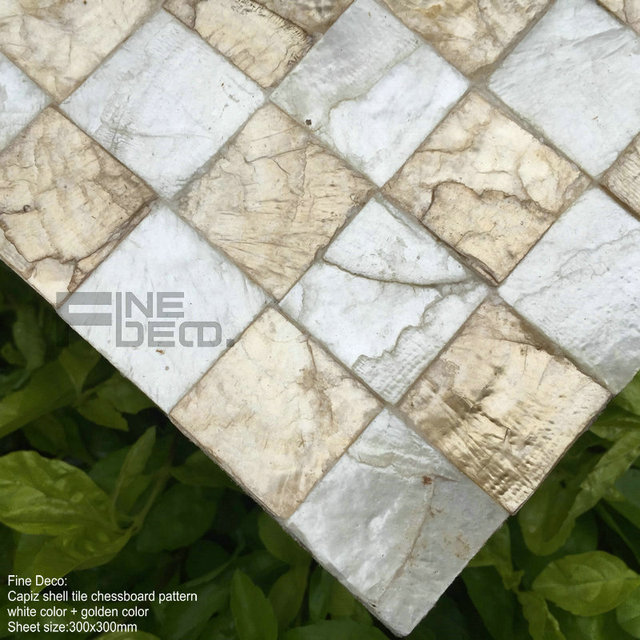 Golden with white color 100% natural capiz shell mosaic tile square pattern for living room decoration