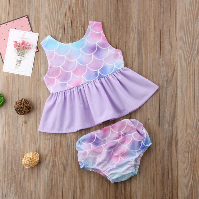 2018 new Toddler Kids Baby Girls Mermaid Vest Tops T-shirt Dress Shorts Pants Outfit 1-4T fashion trend sweet lovely summer CH