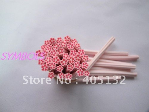 c-05 Free Shipping 100pcs 5mm Cute Pink Flower Polymer Clay Cane Fancy Nail Art  Polymer Clay Cane