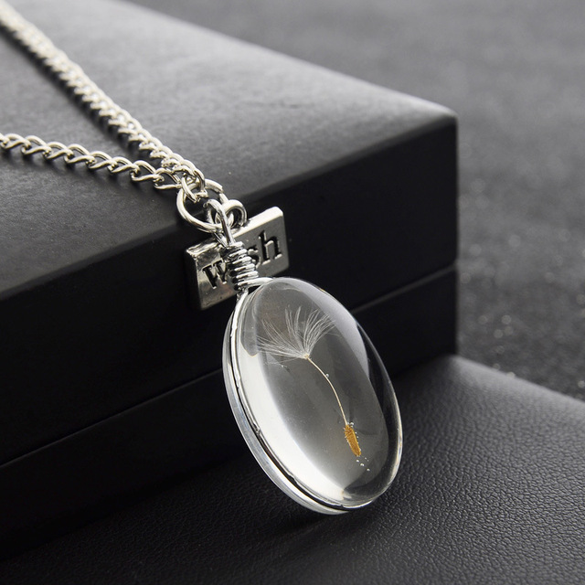 MJARTORIA Natural Dandelion Seed Necklace For Women Dried Flower Oval Glass Bottle Necklaces & Pendants Women Girls Jewelry