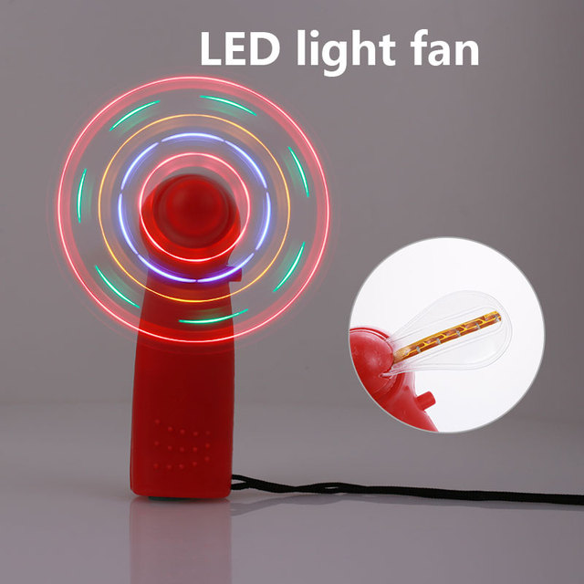 Mini LED Light Fan Energy Saving Lamp With Fan Camping Outdoor Toy Dazzle Light Hand Held Fan Air Cooling Photo Props Low Noise