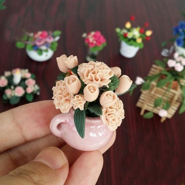 A01-X491 children baby Toy 1:12 Dollhouse mini Miniature rement Doll accessories flower pink Powder carnation 1pcs