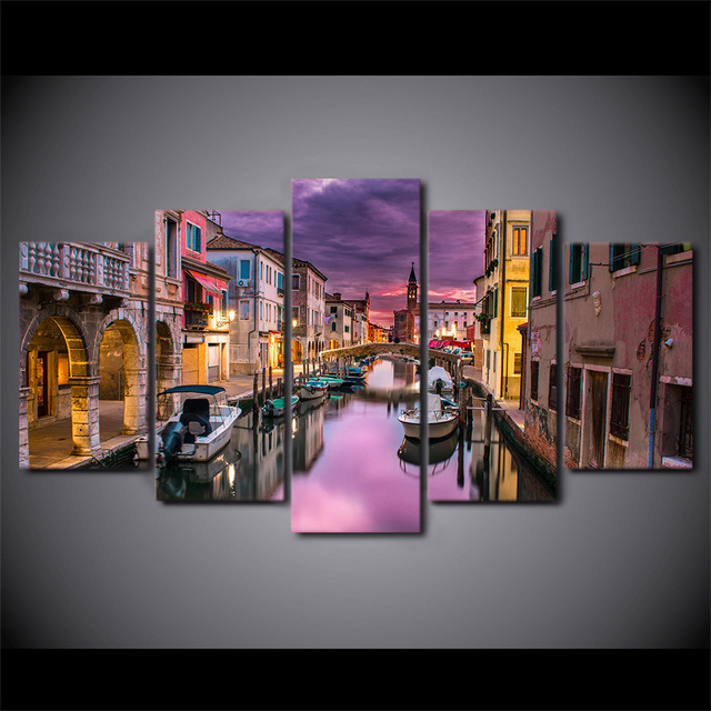 5 Pcs Canvas HD Printed Sunset Venice City Poster Frame Painting Modular Wall Art Pictures Living Room Cuadros Abstractos Modern
