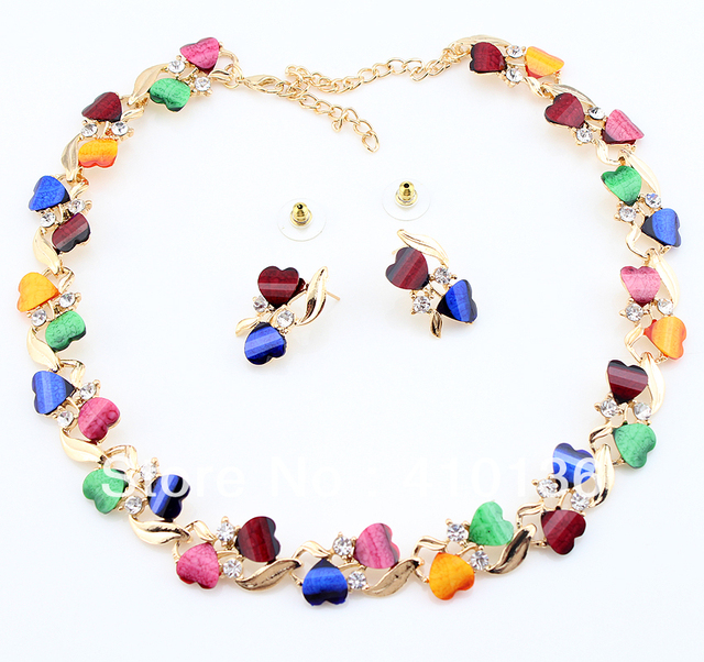 PN12391 Hot Sale Jewelry Sets Wedding Jewelry sets  Clear Crystal Multicolor Heart Style Resin Beads Free Shipping
