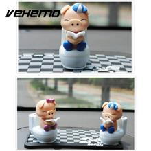 VEHEMO Cute Piglet Reading on Toilet Bowl Pig Solar Toy Car Stying Dashboard Office Decor Ornament Gift Car Interior Accessories