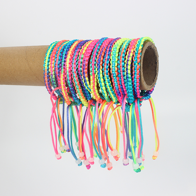 50pcs Girls Gift DIY Charm Rope Bracelet Rainbow Colorful Braid Cord Friendship Bracelets & Bangles Fashion Jewelry Wholesale