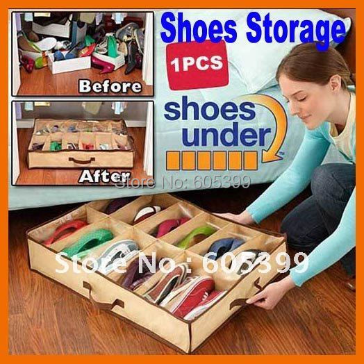 New Brand New 5pcs/lot Non-woven Fabrics Shoes Storage Organizer Case Brown with Free Shipping