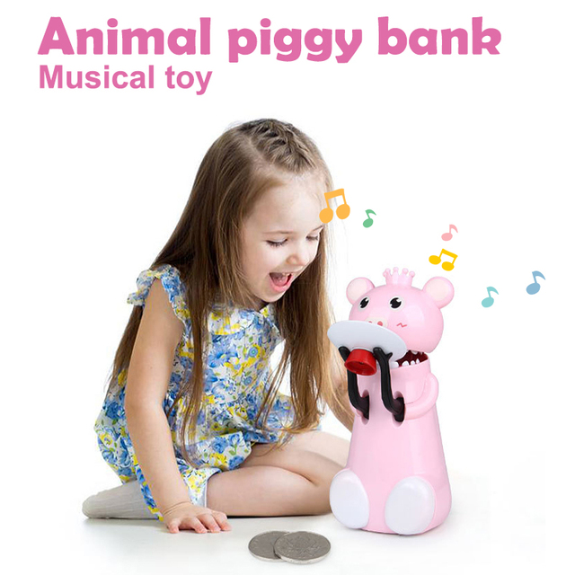 Interesting Toy for adults Fashion Prank Music Storage Plastic Mini Piggy Bank Toys Electric Piggy Bank