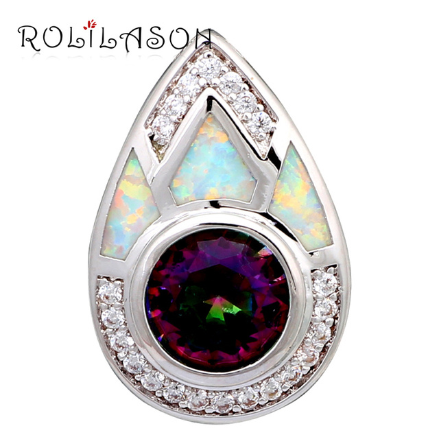 Shock design Amazing Zirconia Wholesale Retail White Fire Opal Silver Stamped Pendants Fashion jewelry Party Gifts OP576