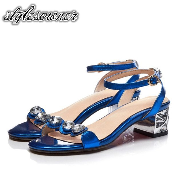 Stylesowner Top Sale Summer High Heels Woman Sandals Cow Leather Peep Toe with Crystal Thick Heels Solid Color Fashion Sandals