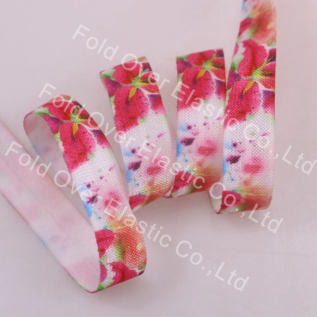 1.5cm width folded elastic for bags, hair ties, high quality floral pattern foe,100 yards per lot