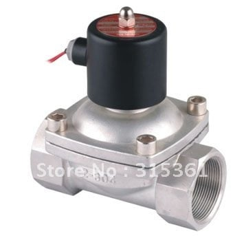 "Free Shipping 2PCS/LOT 2S500-50 2"" 50mm Stainless Steel Normally Closed 2 Way VITON Solenoid Valve Oil Acid AC220V"