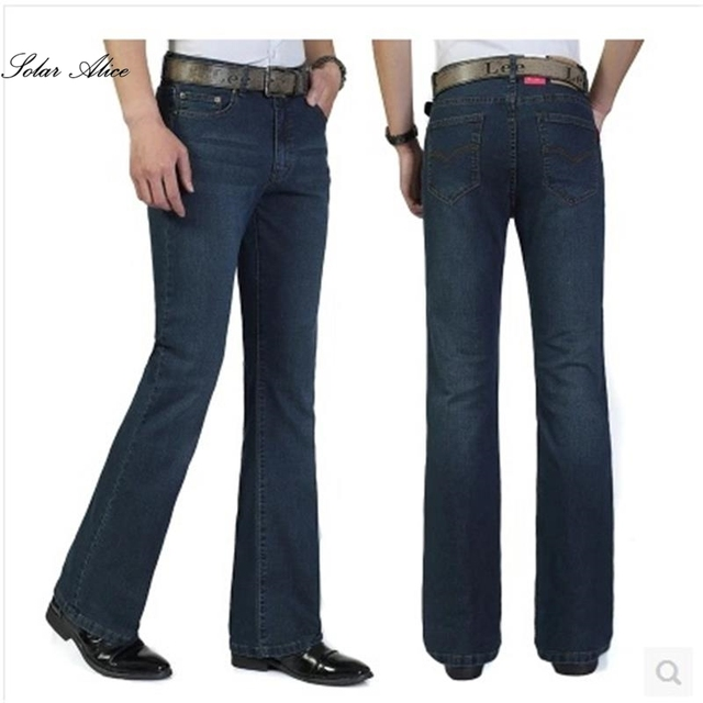 Free Shipping High Quality Men's Large Size Boot Cut Jeans Male Mid Waist Business Denim Long Pants  flares Trousers 27-38