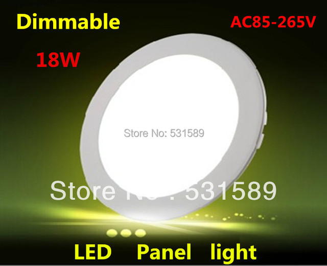 Wholesale20pcs/Lot 18W Dimmable Round  led panel light AC85-265V ceiling Light 1480lumens, Free Shipping