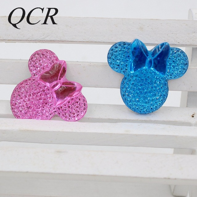 2018 New Arrival 5pcs/lot 28*25mm Middle Mickey Head Shape With Bow Flatback Resin Cartoon Rhinestone For DIY