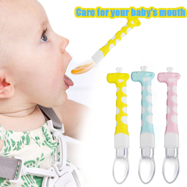 Baby Feeding Spoon Training Giraffe PP Feeding Tool Protect Juice Safe
