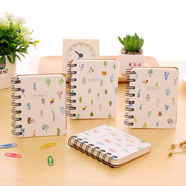 Mini Cute Flower Notebook Paper Kawaii Coil Ring Spiral Blank Notebook and Journals Diary Planner Agenda Stationary Store