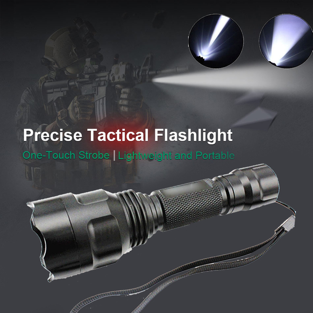 Durable LED Flashlight XPE Q5 T6 20000LM 18650 Rechargeable 3 Modes C8 Tactical Military Outdoor Sporting Climbing Waterproof