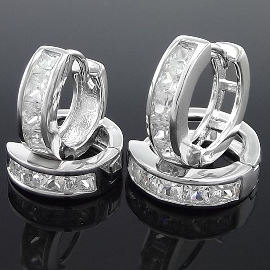 Free shipping 2 pairs white gold GP lady man CZ stones Huggie Earring jewelry  13,15mm