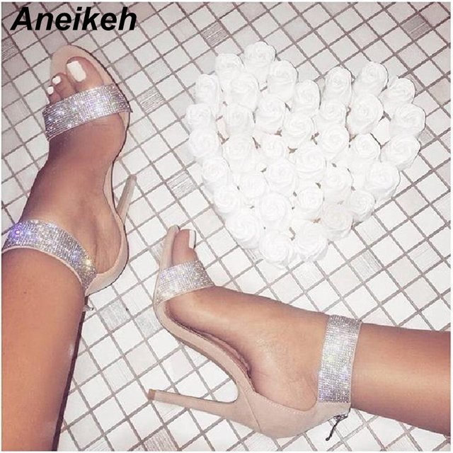 Aneikeh 2018 Bling Bling Rhinestone Stiletto High Heels Dress Wedding Shoes For Ladies Open Toe Summer Ankle Strap Sandals Black