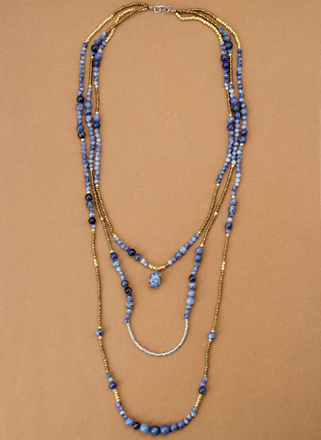 High End Handmade Natural Stones Glass Seed Beads 3 Layers Necklace Bohemian Necklace Vintage Statement Necklaces