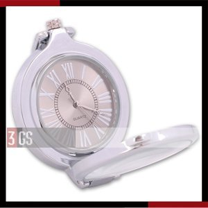 fashion watch New Vintage Silver Chain See-through Cover Pocket Watch