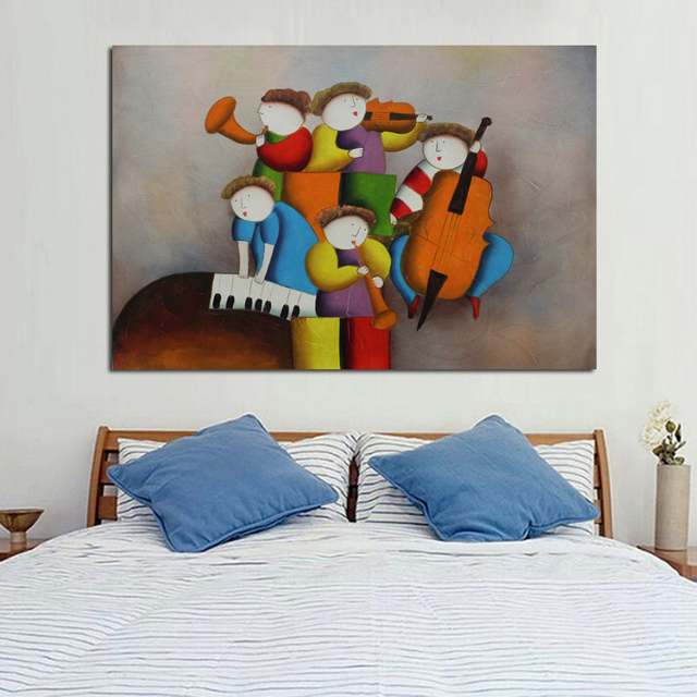 New Handpainted Oil Paintings Concert Playing Art Pictures High Quality Wall Stickers On Canvas Unique Gift for Home Decor