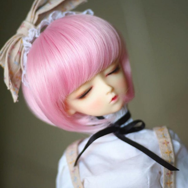 New Arrival 1/3 1/4 1/6 Bjd SD Doll Wig Wire Fashion Short LOVELY Pink Colors High Temperature BJD Super Doll Hair
