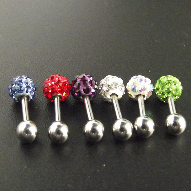 1 Piece Tragus Ear Piercing Labret Crystal Ball Stainless Steel Ear Piercing Cartilage Body Jewelry