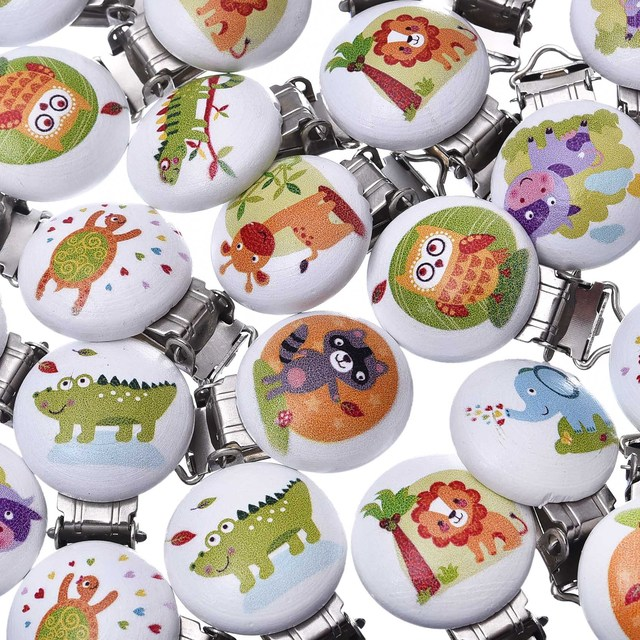 5pcs/Pack Baby Pacifier Clips Holder Colorful Animals Cartton Wooden Round For Baby 4.7cm x2.9cm Funny Pacifier