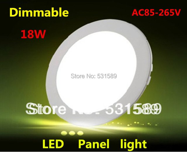 DHL Wholesale50pcs/Lot 18W Dimmable Round  led panel light AC85-265V ceiling Light 1480lumens, Free Shipping