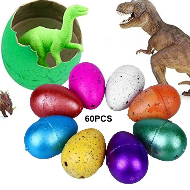 60Pcs Cute Magic Hatching Growing Dinosaur Eggs Novelty Gag Toys Water Growing Dinosaur For Children Educational Gifts Kids Toys