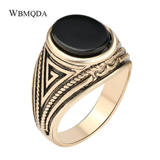 Wholesale Vintage Black Red Stone Antique Gold Signet Ring Men Punk Rock Wedding Rings Turkish Indian Jewelry Free Shipping